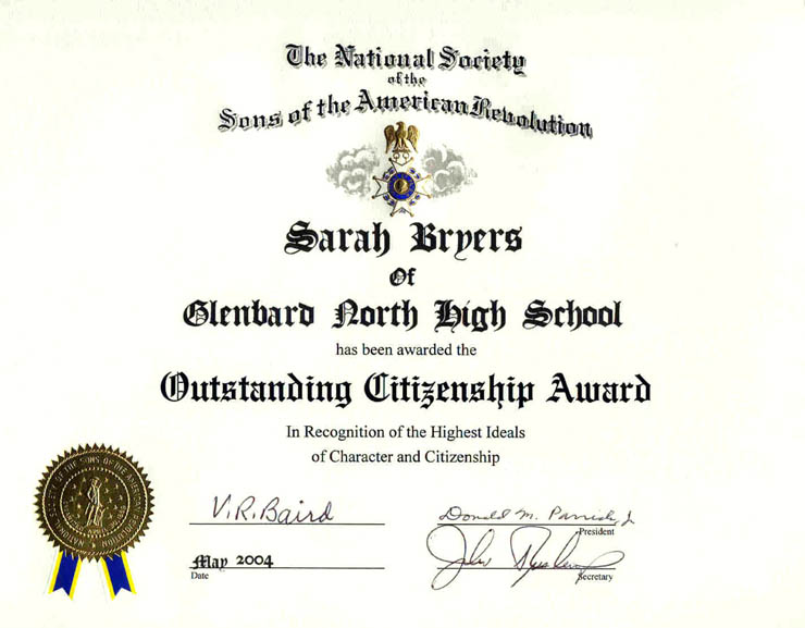 Outstanding Citizenship Certificate